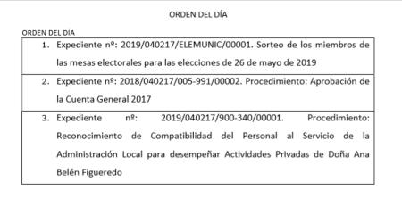 orden del día pleno 29 04 2019